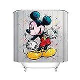 Fgolphd Disney Shower Curtains Mickey Mouse Duschvorhang Textil 120x200 180x200180x180 200x240 Bunt Pink Blau Badezimmerteppich 4-teiliges Set (120 x 200 cm,24)