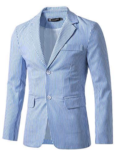 Allegra K Herren Fallendes Revers Einreiher Slim Fit Streifen Blazer Sakko Blau Weiß L (EU 54)
