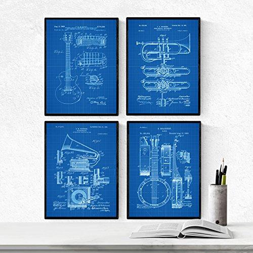 BLAUW - pak van 4 vellen MUSIC-patent. Maak posters met uitvindingen en oude patenten. Kies de gewenste kleur. Gedrukt op hoge kwaliteit 250 gram. Nacnic