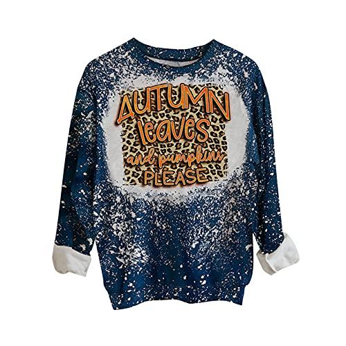Dubras Fall Thanksgiving Halloween Long Sleeve Shirts for Women,Tie Dye Crewneck Sweatshirt Pumpkin Letter Print Pullover Top Silver