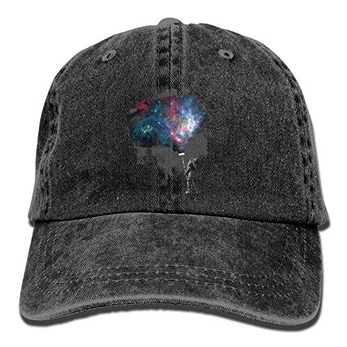 Hoswee Unisexo Gorras de béisbol/Sombrero, Astronauts Paint Galaxy Denim Hat Adjustable Female Fitted Baseball Caps
