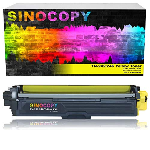 SinoCopy Yellow XXL Toner für Brother TN-242 TN-246 HL-3142 3152 3172 CW CDW DCP9017CDW Color 2.200 Seiten TN 242 TN-242 TN 246 TN-246