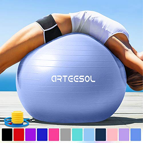 arteesol Gymnastikball Pilates Ball 45cm / 55cm / 65cm / 75 cm inkl. Pumpe Anti-Burst Sitzball für Yoga Exercise Fitness Physiotherapie (5 Farben) (Himmelblau, 55cm)