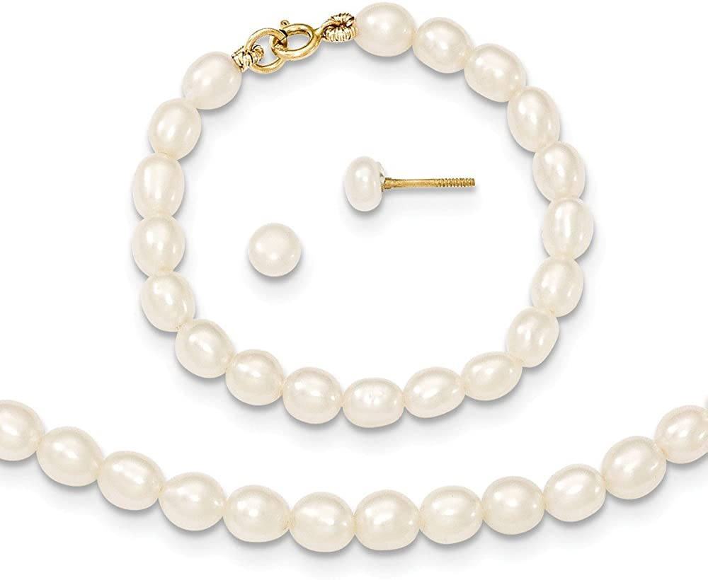 14k Yellow Gold White Freshwater Cultured Pearl 12 Chain Necklace 4 Bracelet Post Stud Earrings Set Pendant Charm Fine Jewelry For Women Gifts For Her