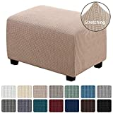 H.VERSAILTEX Ottoman Cover Rectangle Ottoman Slipcovers Stretch Footstool Protector for Living Room Soft with Elastic Bottom Jacquard Textured Twill Fabric Slipcover(Ottoman Large Size, Sand
