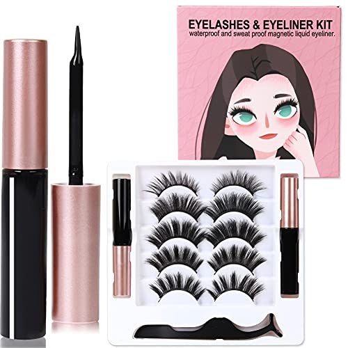 Magnetische Wimpern mit eyeliner, Wiederverwendbare Wasserdichtem Langlebigem mit Pinzetten, Natural Look, wimpern magnetisch