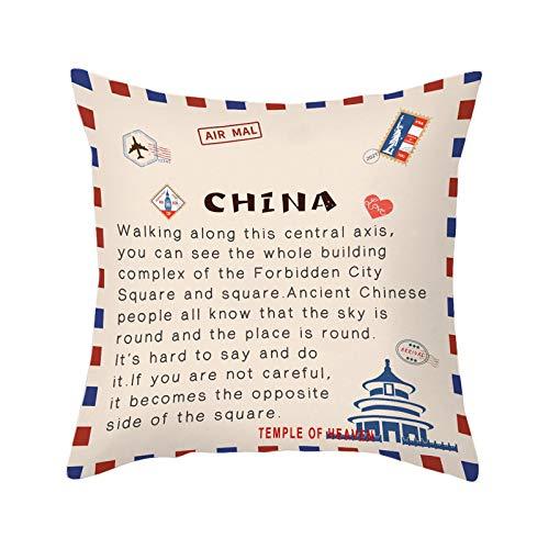 Acook Funda de cojín para el hogar, diseño de sobres, funda de cojín de piel de melocotón (45 x 45 cm)