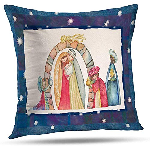 LisaArticles Fundas De Almohada,Pesebre Navideño Jesús María Bebé Arte Nacimiento Decoración del Hogar Funda De Almohada con Cremallera
