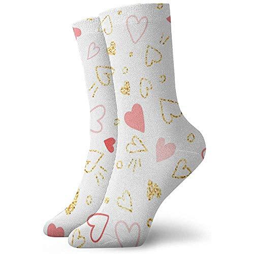 Kevin-Shop Heren En Vrouwen Gedessineerd Jurk Sokken Goud Glitter En Roze Harten Kleurrijke Grappige Nieuwigheid Gek Crew Sokken