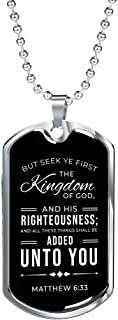 """Express Your Love Gifts Matthew 6:33 Black Stainless Steel Silver Tone or 18k Gold Military Dog Tag Necklace w 24"""" Ball Chain"""