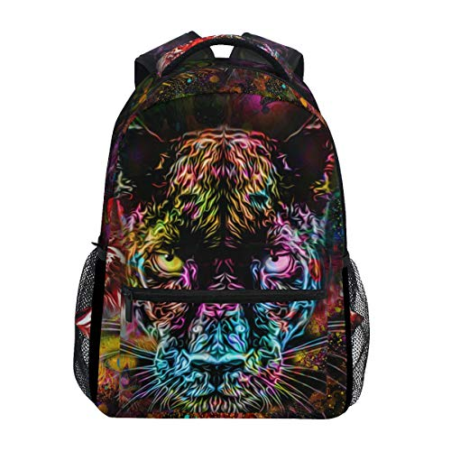 ALAZA Tiger Black Panther Leopard Animal Print Galaxy Colorful Large Backpack Personalized Laptop iPad Tablet Travel School Bag with Multiple Pockets for Men Women College