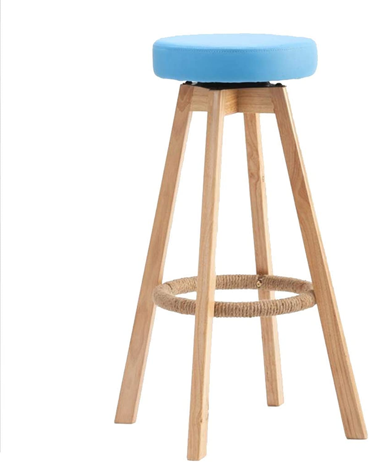 Bar stools, Continental bar Chair Solid Wood High Stool Vintage bar Chair Backrest Bar stools 360 Degree (color    2)