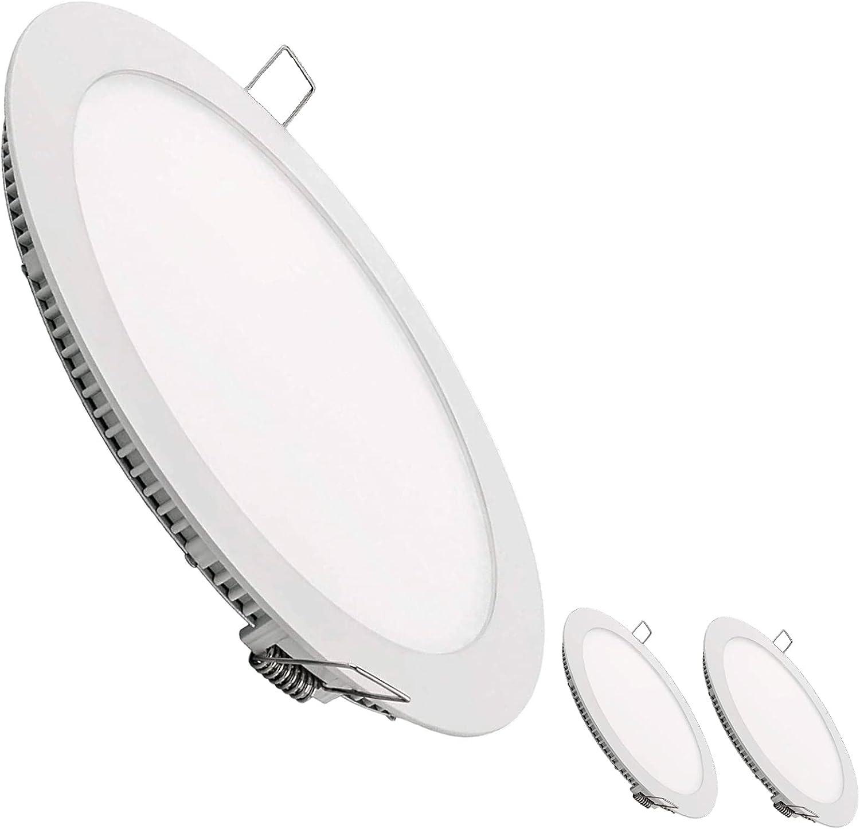 Pack 3x Panel Downlight LED redondo plano, 20W. Color Blanco Neutro (4500K). 1800 Lumenes. Driver incluido.