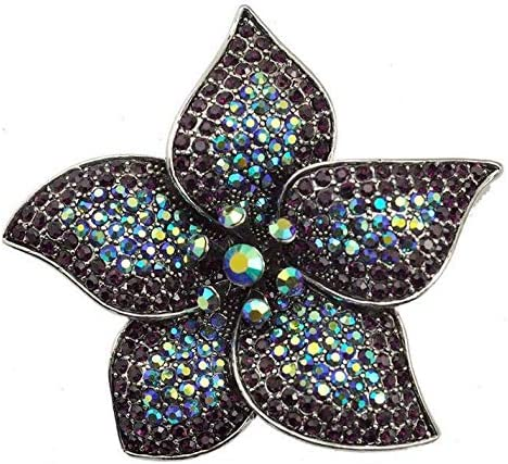 Vintage Flower Purple Rhinestone Super beauty product restock quality top Crystal Pin Woman Brooch Colorado Springs Mall Silver