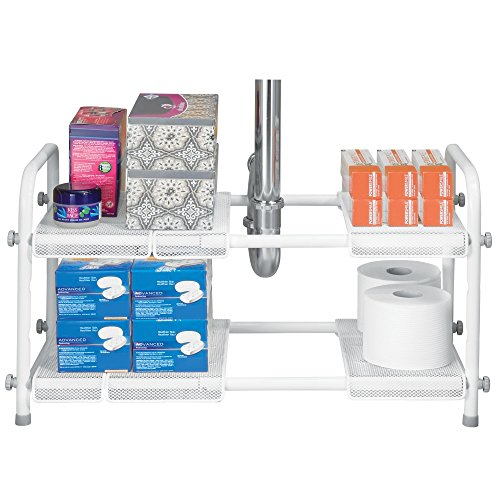 mDesign Organizador de baño con Dos estantes para el Mueble del Lavabo ? Prácticas estanterías de Metal para Accesorios de baño, detergente y Productos de Limpieza ? Color: Blanco