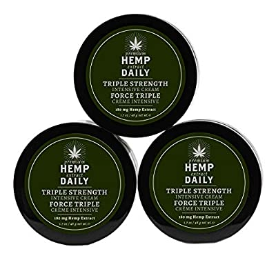 Hemp Daily Intensive Cream | Triple Strength Intensive Hemp Cream with Essential Oils | Vegan, Organic Ingredients, Calming, Use for Muscle Pain and Anxiety Relief | 1.7 Ounces, 3 Pack | XXX from Hemp Daily