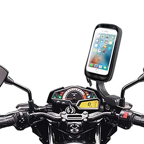 """ENONEO Motorrad Handyhalterung Wasserdicht 360° Drehbar Motorrad Smartphone Halterung mit Regenschutz Motorrad Handy Halterungen Rückspiegel für iPhone X/XS Max/XR/Samsung S8/S9 bis zu 6,7"""" (Schwarz)"""