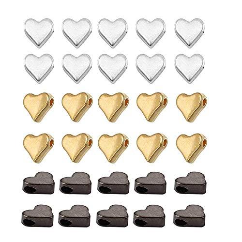 30 Pezzi Distanziatore Perline, 3 Colori Forma di Cuore perline in metallo,Perline per Bigiotteria Fai da Te, per Collane, Bracciali e Creazione di Gioielli