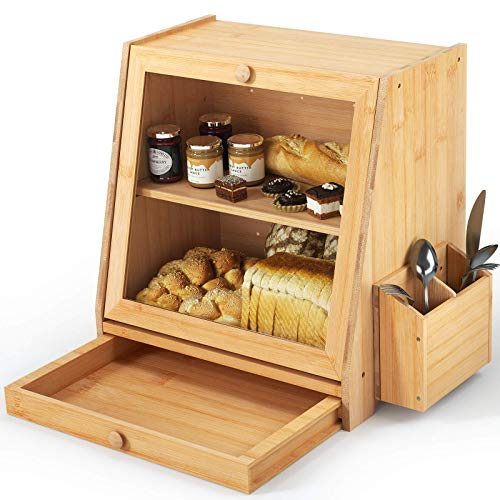 Ollieroo Countertop Space Saving Bread Storage Box Dry Food Storage Container, Bread Bin w/Utensil Tray Drawer