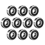 uxcell 608-2RS Deep Groove Ball Bearing Double Sealed 180016, 8mm x 22mm x 7mm High Carbon Steel Z1 Bearings (Pack of 10)