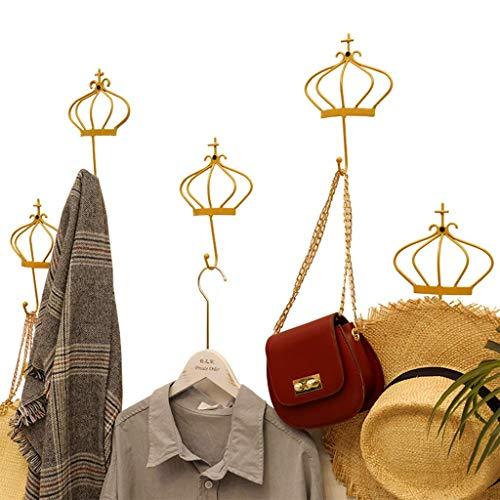 FF Multipurpose haken Coat rack Opslagkapstok Woonkamer Lijm Kroonhaak Sleutel Hanger Accessoires Badkamer Handdoek Gift (Kleur: Goud, Grootte: 15 * 22cm)