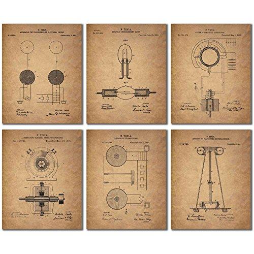 Tesla Patent Wall Art Prints - Set of 6 Vintage (8 inches x ...