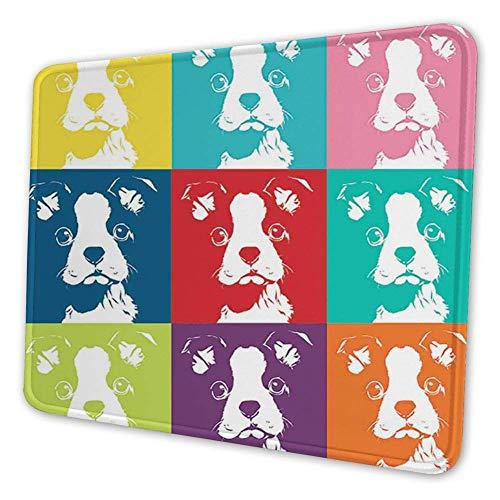 Rechthoekige Mousemat Mousepad, Kleurrijke Pop Art Geïnspireerd Samenstelling van Hond Portretten Huis Huisdier Patroon