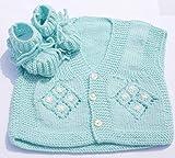 Baby Strickjacke Set mit Schuhen 6 bis 12 Monate Blau Jungen Handmade
