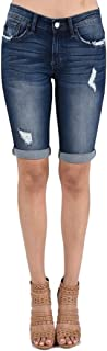 KanCan Jeans Kevia-Lovis Mid-Rise Bermudas Shorts Dark Wash KC6110D