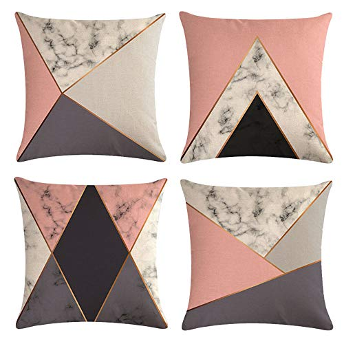 mefound Cushion Covers Set 45cm x 45cm, Decorative Marble Geometric Pattern Cotton Throw Pillow Case Sofa Beds Chairs 18x18 Inch