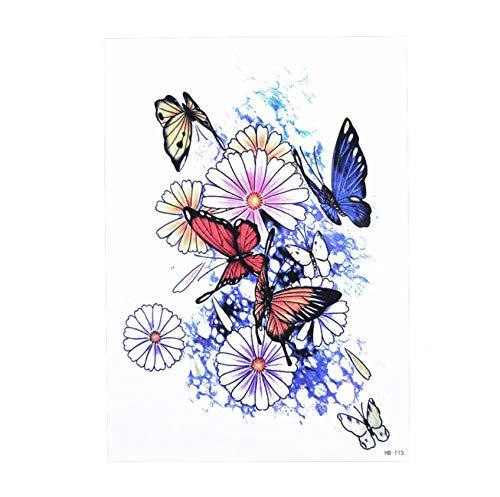 yyyDL Sketch Decal Tattoo Imperméable Coeur Rose Fleur Motif Autocollant Design Femmes Body Art Tatouage Temporaire 15 * 21cm 4pcs
