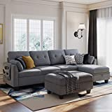 HONBAY Reversible Sectional Sofa Couch Set L Shaped Couch Sofa Sets for Living Room 4 Seat Sofa Sectional with Storage Ottoman for Small Apartment,Grey (Sectional+Hydraulic Rod Ottoman)