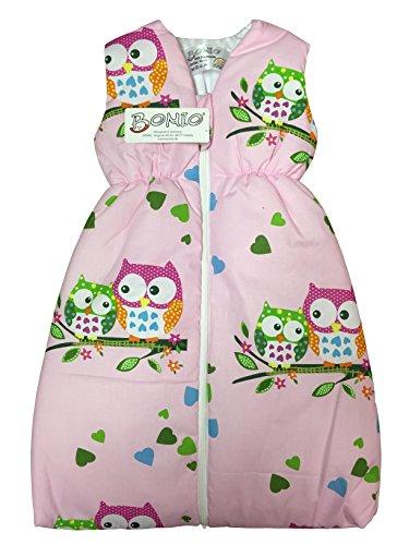 BOMIO Schlafsack Baby ganzjahres/ganzjährig | Baby- und Kleinkinder-Schlafsack | sicherer komfortabler Schlaf | 100% Baumwolle Oeko-Tex zertifiziert | Eule Pink | 110 cm