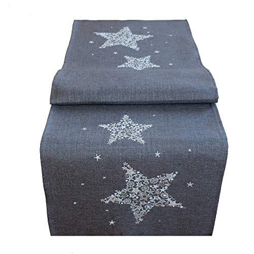 Kamaca Läufer Sternen Zauber in anthrazit mit Bezaubernder Stickerei in Silber - EIN Eyecatcher in Herbst Winter Weihnachten (Tischläufer 40x140 cm)