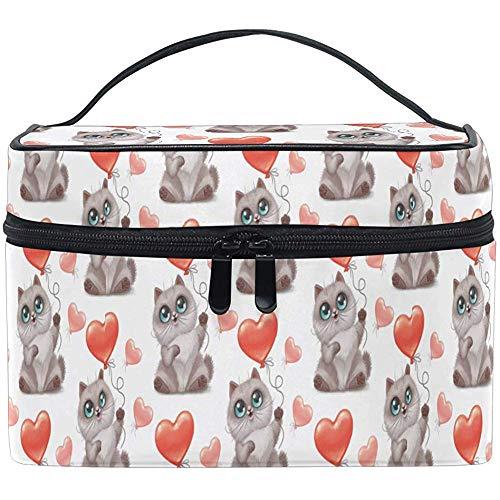 Romantische Valentine Make-up Bag Kitten met hart Ballon Toilettas Draagbare Zip Brush Bag Opbergtas Tassen Doos