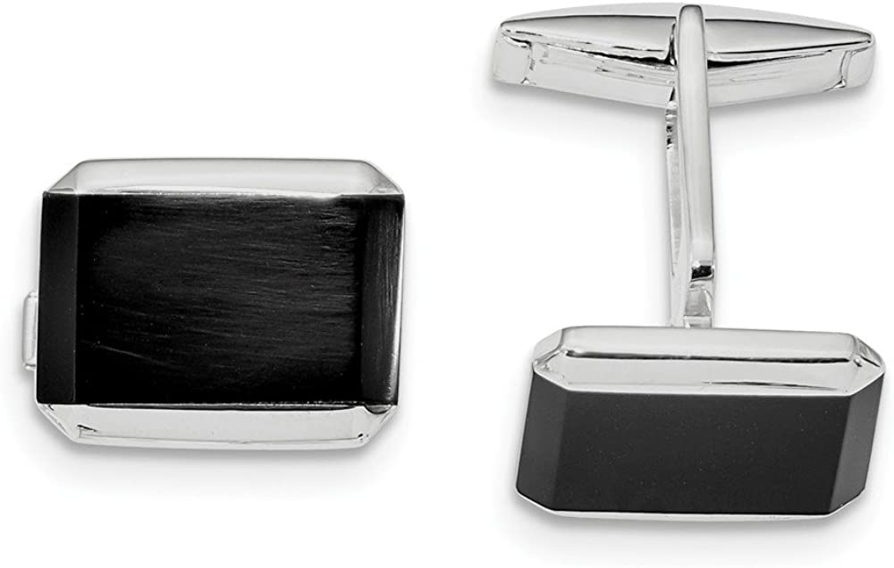 925 Sterling Silver Rectangle Black Mens Cufflin Links Sale special price Onyx New arrival Cuff