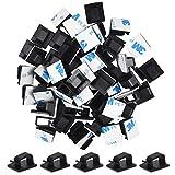 60 Pcs Clips Organizador de Cables Autoadhesivo, Clips de Cable de Exterior Gestión de Cable Eléctrico, Abrazadera de Cables para Cable de USB, TV, Cargador, Abrazadera de Alambre para Oficina, Casa