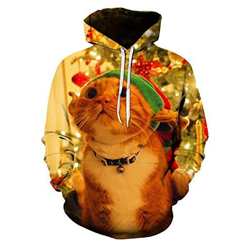 Unisex Christmas Christmas Tree and Colored Balls Sweatshirt Blouse Kangaroo Realistic 3D Print Xmas Pullover Shirt Hoodies for Men Women 812 130