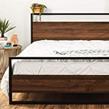Best Choice Products Metal Wood Platform Bed Frame, Queen Size Mattress Support w/Wood Slats, No Box Spring Needed, Low Profile Headboard, Footboard, 660lb Capacity - Black/Brown