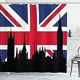 ABAKUHAUS Union Jack Duschvorhang, Historisches städtisches Großbritannien, mit 12 Ringe Set Wasserdicht Stielvoll Modern Farbfest & Schimmel Resistent, 175x240 cm, Königsblau Schwarz Rot