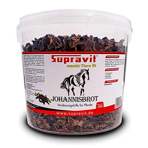 Supravit Johannisbrot 2 kg- Verdauungshilfe für Pferde bei Durchfall & Darmproblemen - Pferdefutter als Ergänzung & Leckerli