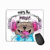 滑り止めラバーマウスパッドゲーミングマウスパッドかわいいポートレート犬ヘッドフォン魅力的