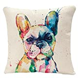YGGQF Animal Throw Pillow Cover Head Frenchie French Bulldog Original Watercolor Dog Wildlife Rainbow Funny Happy Puppy Companion Home Decor Pillowcase for Sofa 18x18 Inches