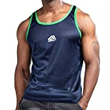 AIMPACT Men Athletic Workout Tank Top Mesh Dry Fit Jersey Casual Sleeveless Shirts(DarkBlue S)