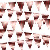 5 Packungen Karneval Zirkus Party Dekorationen, Zirkus Karneval Bunting Banner, Rote & Weiße Wimpel Banner Dreiecke Bunting Flagge für Karneval Geburtstag Party, 7,4 x 10,8 Zoll