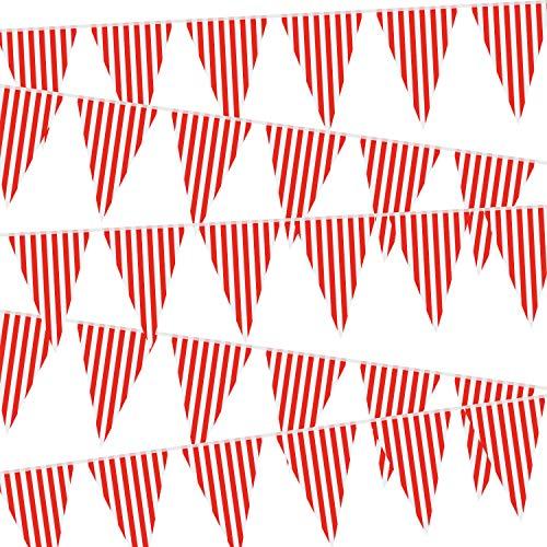 5 Suministros de Decoración de Fiesta de Circo de Carnaval, Empavesado de Carnaval de Circo, Bandera de Banderín Rojo y Blanco Bandera Triángulo para Fiesta Cumpleaños Carnaval, 7,4 x 10,8 Pulgadas