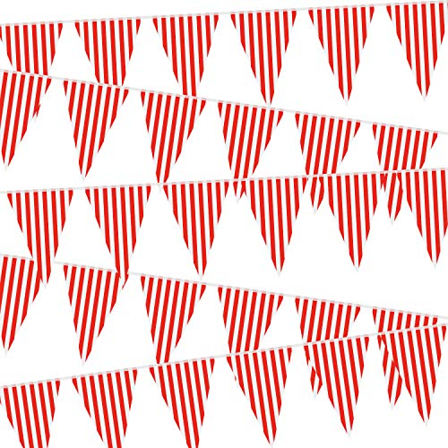 5 Packungen Karneval Zirkus Party Dekorationen, Zirkus Karneval Bunting Banner, Rote und Weiße Wimpel Banner Dreiecke Bunting Flagge für Karneval Geburtstag Party, 7,4 x 10,8 Zoll