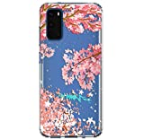 HUIYCUU Compatible with Galaxy S20 Case 6.2', Shockproof Anti-Slip Cute Glitter Flower Clear Design Pattern Slim Crystal Soft Bumper Girl Women Cover Case for Samsung Galaxy S20, Cherry Blossoms Fish