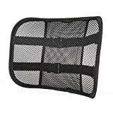 Go Lumbar Support Mesh Back Cushion for Car Seat Desk Office Chair [UPGRADE VERSION WITH STRAP], Recommended by Chiropractor Dr. Jose Guevara for Orthopedic Driving Comfort and Posture Support, Black