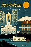 New Orleans, Louisiana - Retro Skyline (12x18 Art Print, Wall Decor Travel Poster)
